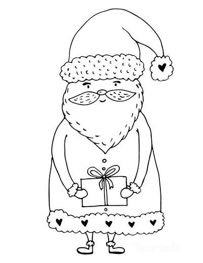 Santa Coloring Pages Cute Father Christmas Holding Gift