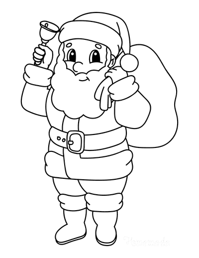 Santa Coloring Pages Cute Simple Outline Santa With Bell