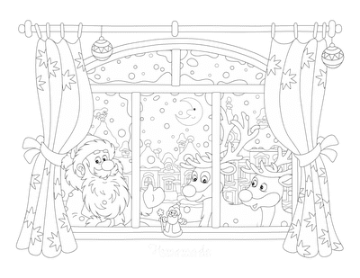 Santa Coloring Pages Father Christmas and Reindeer Window Scene