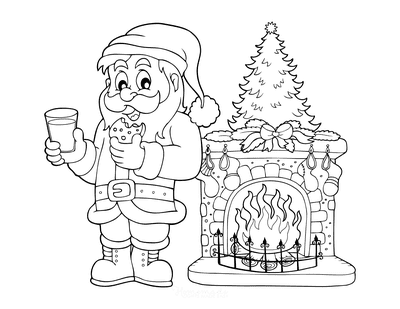 Santa Coloring Pages Father Christmas Eating Cookie Drinking Milk Fireside