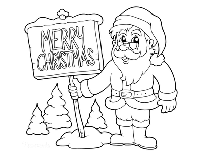 Santa Coloring Pages Father Christmas Merry Christmas Sign