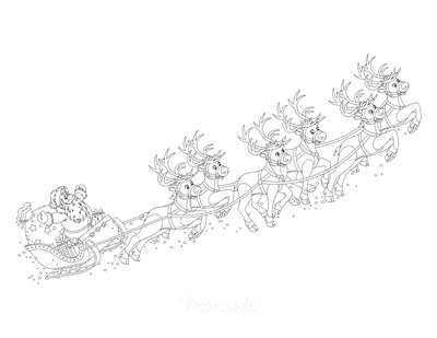 Santa Coloring Pages Father Christmas Reindeer Sleigh Flying