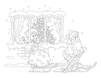 Santa Coloring Pages Father Christmas Skiing Past Window