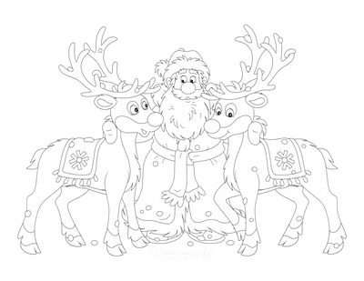 Santa Coloring Pages Father Christmas With 2 Reindeer