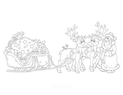 Santa Coloring Pages Father Christmas With Reindeer Sleigh Presents