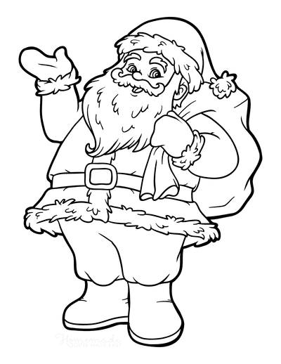 Santa Coloring Pages Jolly Father Christmas With Sack