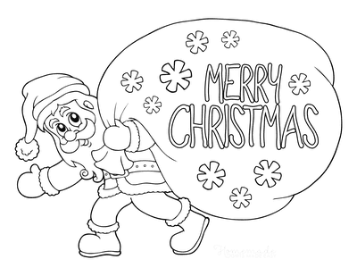 Santa Coloring Pages Merry Christmas Sack