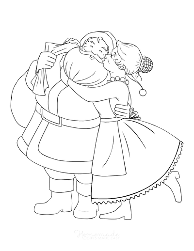 Santa Coloring Pages Mr and Mrs Claus