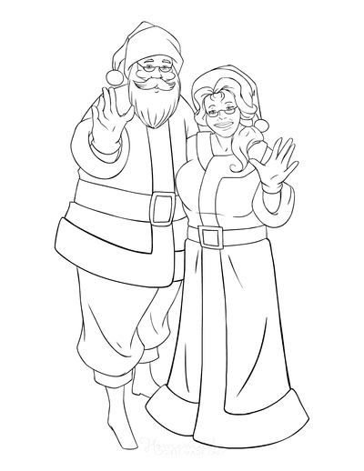 Santa Coloring Pages Mr Mrs Claus Waving