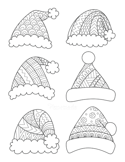 Santa Coloring Pages Patterned Santa Hats to Color
