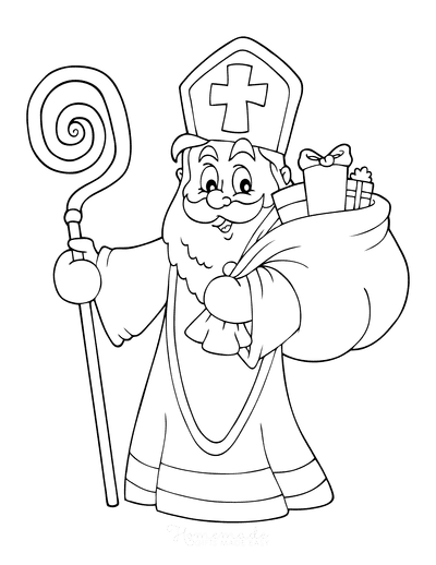 Santa Coloring Pages Saint Nicholas With Staff Gifts