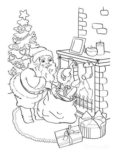 Santa Coloring Pages Santa Delivering Gifts Fireside Christmas Tree