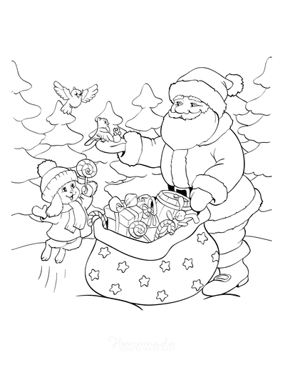 Santa Coloring Pages Santa Delivering Gifts to Cute Animals