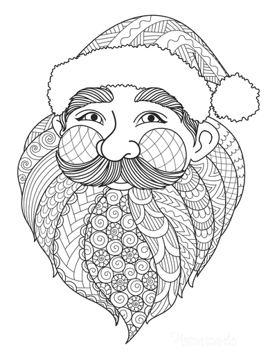 Santa Coloring Pages Santa Detailed Face for Adults to Color