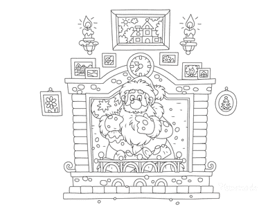 Santa Coloring Pages Santa Down Chimney Delivering Presents