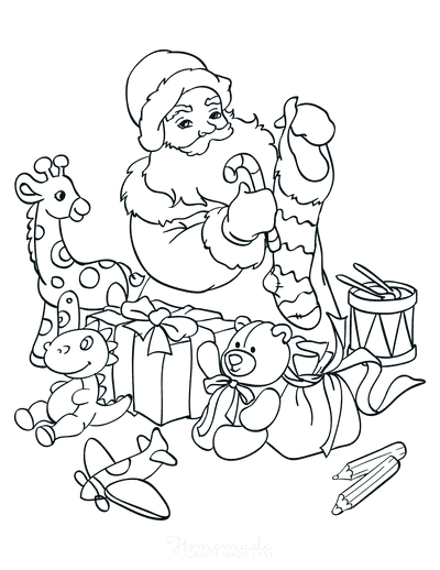 Santa Coloring Pages Santa Filling Stocking With Toys