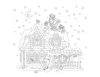 Santa Coloring Pages Santa on Roof Top Delivering Toys