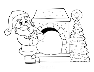 Santa Coloring Pages Santa Pulling Sack of Presents Out of Fireplace