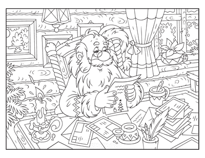 Santa Coloring Pages Santa Reading Letters by Candle Light