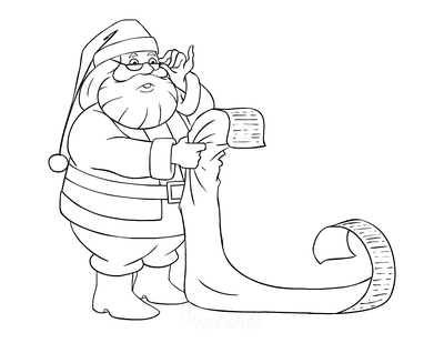 Santa Coloring Pages Santa Reading Long List With Glasses