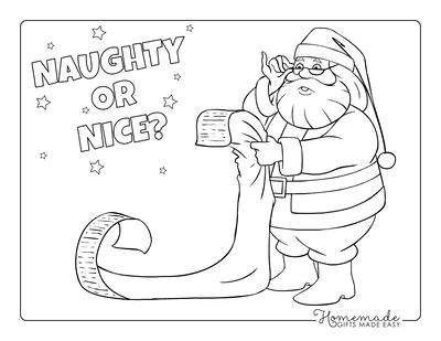 Santa Coloring Pages Santa Reading Long List With Glasses