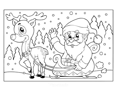 Santa Coloring Pages Santa Riding Sleigh With 1 Reindeer