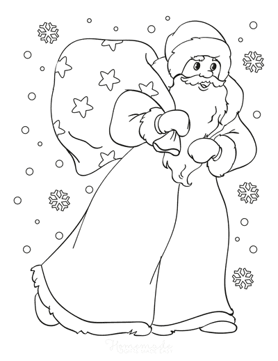 Santa Coloring Pages Santa Walking in Snow With His Sack