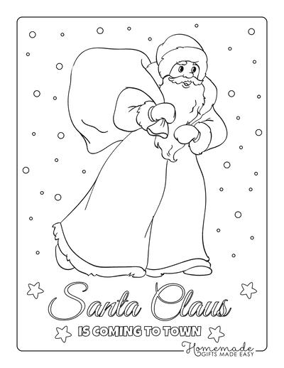 Santa Coloring Pages Santa Walking in Snow With His Sack