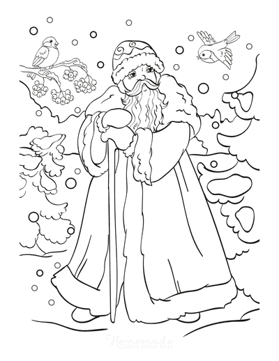 Santa Coloring Pages Santa Wearing Cloak in Snow With Cute Birds