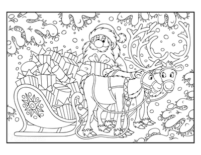 Santa Coloring Pages Santa With Reindeer Sleigh Toys