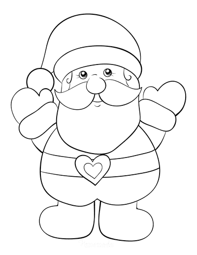 Santa Coloring Pages Simple Jolly Preschoolers