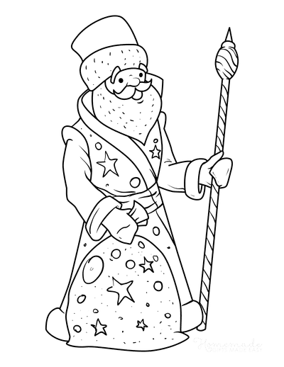 Santa Coloring Pages St Nicholas With Staff Sack