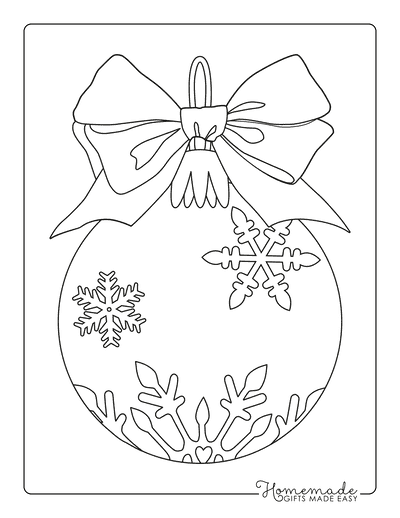 Snowflake Coloring Page Christmas Bauble