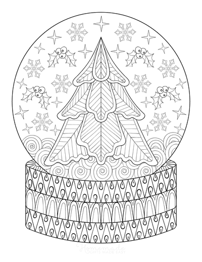 Snowflake Coloring Page Christmas Snowglobe