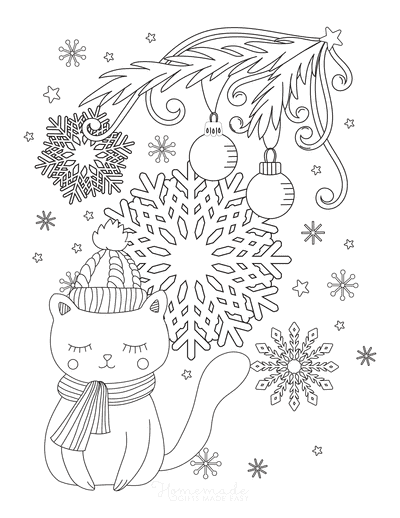 Snowflake Coloring Page Cute Cat Christmas Tree