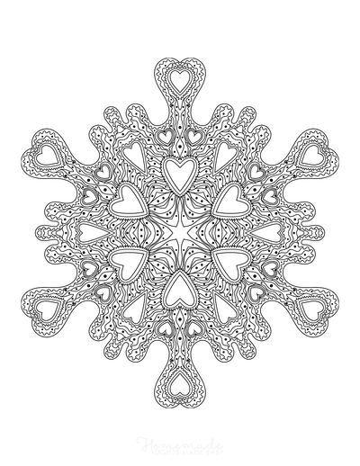 Snowflake Coloring Page Decorative Heart Shapes