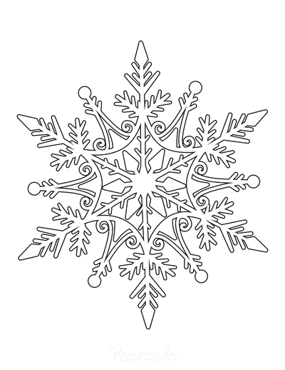 Snowflake Coloring Page Detailed 1