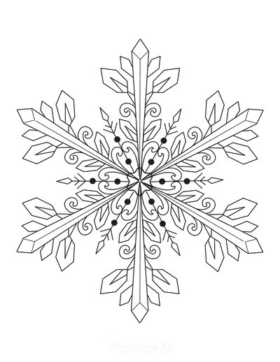 Snowflake Coloring Page Detailed 10