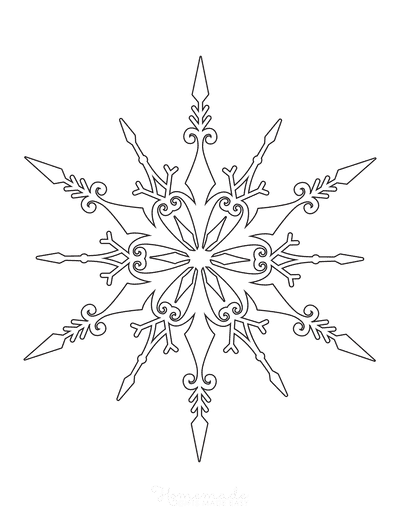 Snowflake Coloring Page Detailed 2