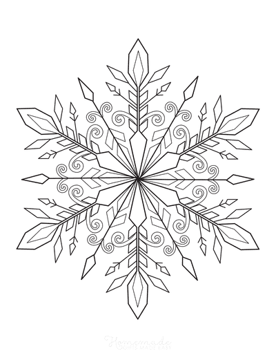 Snowflake Coloring Page Detailed 8