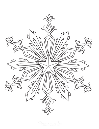 Snowflake Coloring Page Detailed 9