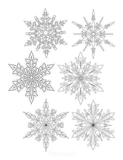 Snowflake Coloring Page Detailed Set of 6 P1