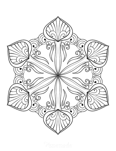 Snowflake Coloring Page for Adults Intricate 12