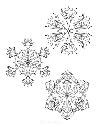 Snowflake Coloring Page for Adults Intricate Set of 3 P1