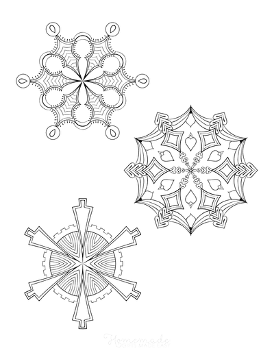Snowflake Coloring Page for Adults Intricate Set of 3 P2