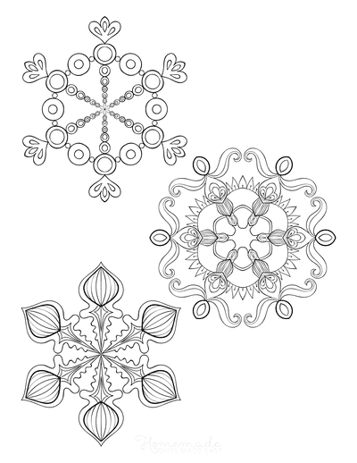 Snowflake Coloring Page for Adults Intricate Set of 3 P3