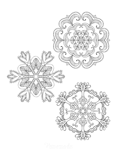 Snowflake Coloring Page for Adults Intricate Set of 3 P4