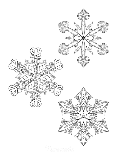Snowflake Coloring Page for Adults Intricate Set of 3 P5