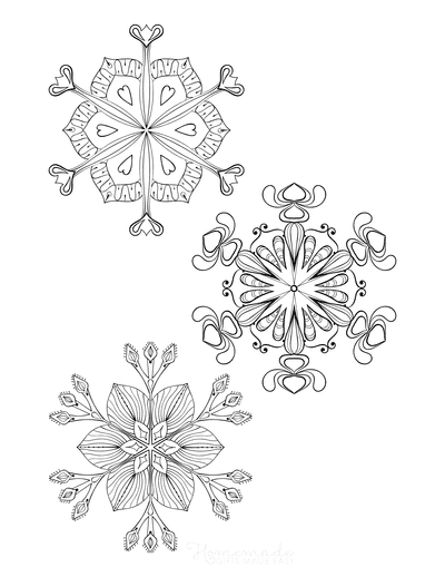 Snowflake Coloring Page for Adults Intricate Set of 3 P6