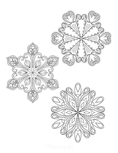 Snowflake Coloring Page for Adults Intricate Set of 3 P7